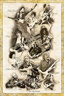 Digital Fusion Prints Guitar Legends (Jimmy Page, Prince, Slash, Eric Clapton, Muddy Waters, Ry Cooder, Eddie Van Halen, Jimmy Hendrix, Robert Johnson.) Retro Poster 24