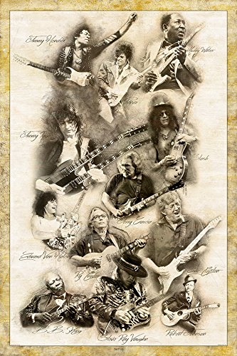 Digital Fusion Prints Guitar Legends Jimmy Page Prince Slash Eric Clapton Muddy Waters Ry Cooder Eddie Van Halen Jimmy Hendrix Robert Johnson Retro Poster 24 X 36 Unframed Buy Online In