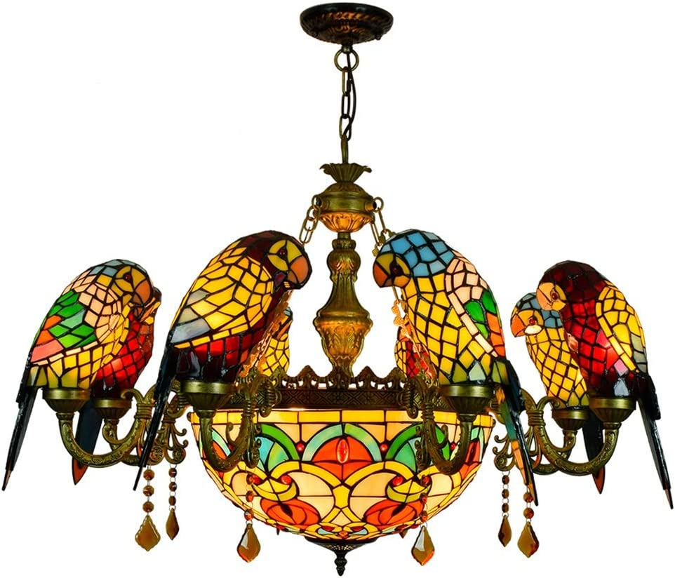 Dining 2021 new Table Lamp Suspension Tiffany Parrot Style Coloured Bir 8 half