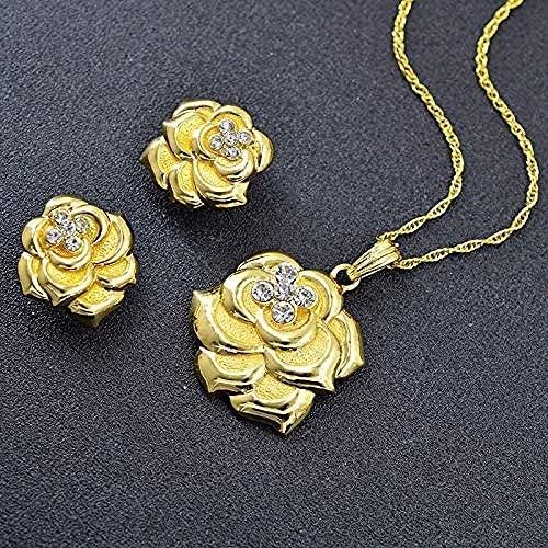 NC190 Collar Conjuntos de Joyas Grandes para Mujer Pendientes Collar Colgante Flores románticas Fiesta Boda Collar Nupcial Resultados de la joyería