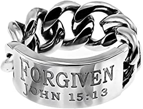 The Quiet Witness K76 John 15:13 FORGIVEN Chain Link Mens Ring Christian Wedding Band Scripture Jewelry Greater Love Has No One