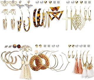 FINETOO 36 Pairs Assorted Multiple Earrings Set for Women Girls Tassel Dangle Earrings Lightweight Acrylic Hoop Drop Earri...