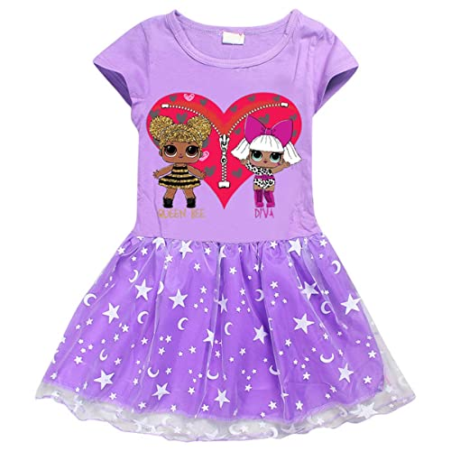 para Niña Falda de Princesa Cosplay para Fiesta de Halloween Mangas Cortas Vestido Carnaval Boda Cumpleaños Ceremonia para niñas de 3 a 8 años