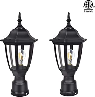 FUDESY 2-Pack LED Outdoor Post Light Fixtures,Plastic Black Post Lanterns with 12W 1200LM Edison Filament Bulb(Corded-Electric), FDS2543B