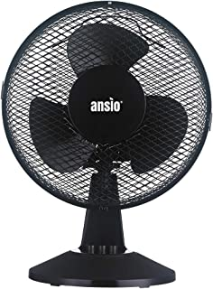 ANSIO Ventilador oscilante portátil de sobremesa de 9 Pulgadas con 2 velocidades – Ventilador de refrigeración Negro Ideal para el hogar y la Oficina - 2 años de garantía
