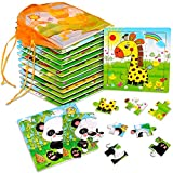 SANNIX 12 Pack Jigsaw Puzzles for Toddlers Wooden Animals Jigsaw Puzzles 9 pcs with 12 Organize Bags for Kids Ages 2 3 4 5 Preschool Educational Puzzles Learning Travel Toys for Boys and Girls