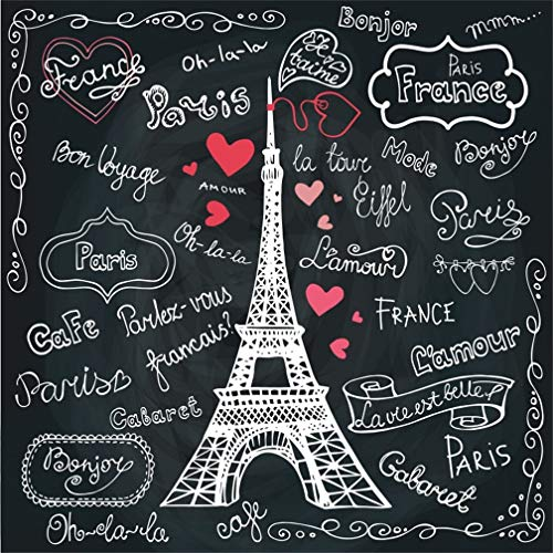 LFEEY 4x4ft Romantic Paris Eiffel Tower Backdrop Doodle Hand Drawn French on Blackboard Photography Background Franch Landmark Chalkboard Love Heart Shaped Pattern Photo Studio Props Vinyl Banner