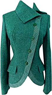 Plus Size Thick Irregular Coat, QIQIU Womens Vintage Side Buttons Warm Lapel Casual Slim Fit Outwear Fashion Jacket