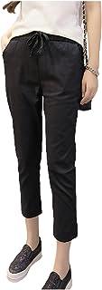 [パリド] 綿麻 七分丈 らくちん イージー パンツ クロップド ズボン S ~ 3XL レディース