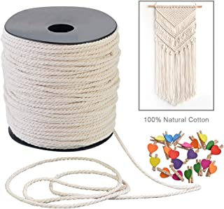 Junejour Macrame Cord 100m 3mm with 20pcs Mini Heart Shape Wooden Clips Photo Holder Clips Craft Clips 3 Strand Twisted Cotton Cord (Clip Color Random)