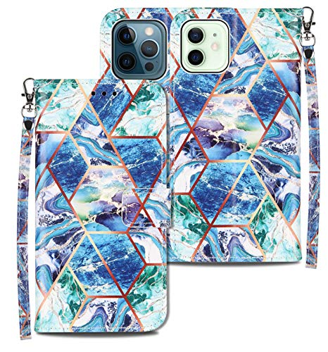 Compatible for iPhone 12 Wallet Case,for iPhone 12 Pro Flip Cell Phone Cases,[Stand Feature][Wrist Strap][Credit Cards Holder] Marble Pattern Premium PU Leather Protective Cover (Blue/Green)