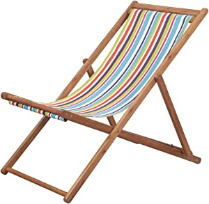 Festnight Outdoor Patio Chaise Lounge Chair Folding Beach Chair Fabric and Wooden Frame