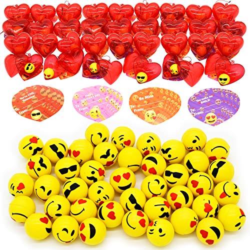 30 Packs Emoji Kids Valentine Party Favors Set with 30 Emoji Bouncy Balls Filled Hearts and Valentine Cards for Kids Valentine Classroom Exchange, Cool Bouncing Balls for Valentine Gift