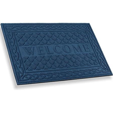 Mibao Durable Door Mat, Heavy Duty Rubber Doormats, Welcome Mats, Indoor Outdoor, Non-Slip, Easy Clean, Absorb Water, Low-Profile Mats for Entry, Patio, Garage, Entrance Way (24×36, Blue)