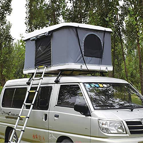 Automotive Rooftop Tent Carpa de Techo para automóvil Carpa de Techo para Autos para 2-3 Personas con Escalera Plegable, Carcasa Dura Blanca + Carpa Gris