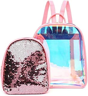 2 in 1 Transparent Backpack, Hamkaw Waterproof Glitter Holographic Backpack,Ladies & Girls Sequins Backpack Purse for School,Travel