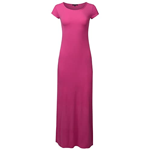 15de86725d2 Awesome21 Women s Casual Round Neck Cap Sleeves Long Length Maxi Dress