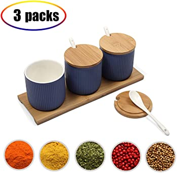 3-Pieces FENGZHITAO Ceramic Food Storage Spice Containers