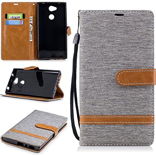 Hülle für Sony Xperia L2 Handyhülle Schutzhülle Leder PU Wallet Bumper Lederhülle Ledertasche Klapphülle Klappbar Magnetisch für Sony Xperia L2 - ZIBF031129 Grau