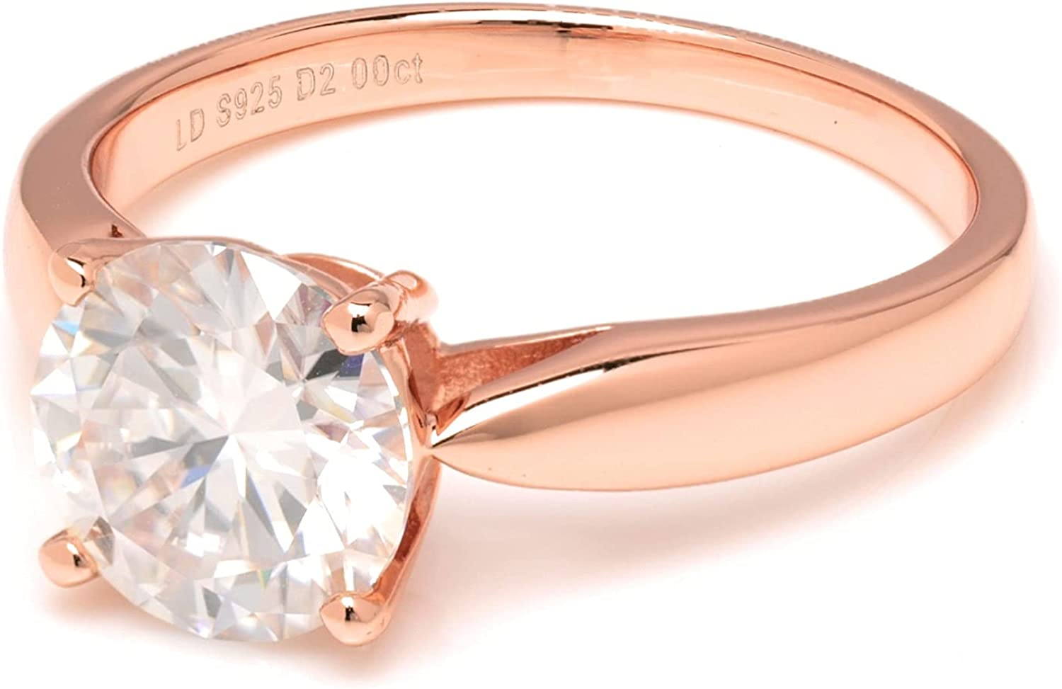 Rose Gold Over S925 Round Cut 2 Carats Genuine Moissanite Diamond Couple Anniversary Ring