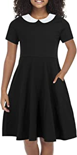 Girl's Short Sleeve Casual Vintage Peter Pan Collar Fit and Flare Skater Party Dress with Pockets 4-12 Years