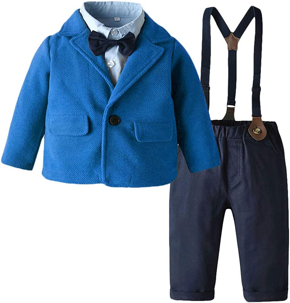 Toddler Baby Boy 4-Piece Formal Clothes Set with Bowtie Shirt, Blazer, Suspender and Pants Suit