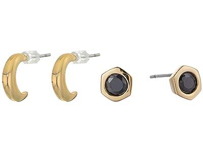 AllSaints Small Hex Stud Set Earrings (Black/Gold) Jewelry Sets