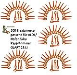100 Kunststoffmesser/Ersatzmesser/Schneidplättchen/Messer passend für Akku Rasentrimmer Gardenline GLART 18 Li von ALDI/Hofer