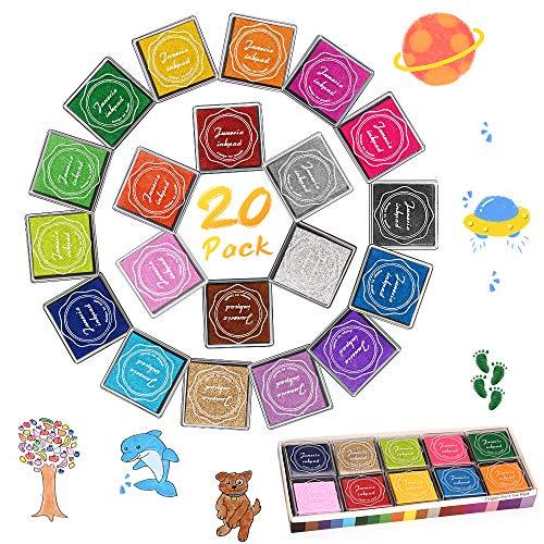 Almohadillas de tinta, DazSpirit 20 colores Huellas dactilares Sellos de almohadilla de tinta con 4 hojas de dibujo de huellas digitales Color de bricolaje Lavable