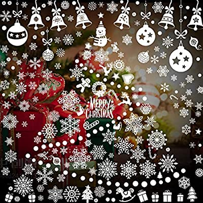 252 Pcs Christmas Window Cling Snowflake Window Decal Stickers Xmas Holiday White Winter Holiday Decals for Party Decorations
