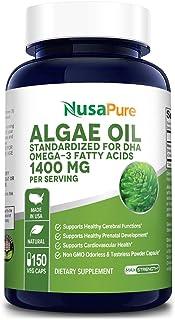 Omega 3 - Algae Oil 1400mg 150 Vegetarian Powder Capsules (Non-GMO & Gluten Free) Marine Algal Source of DHA Fatty Acids