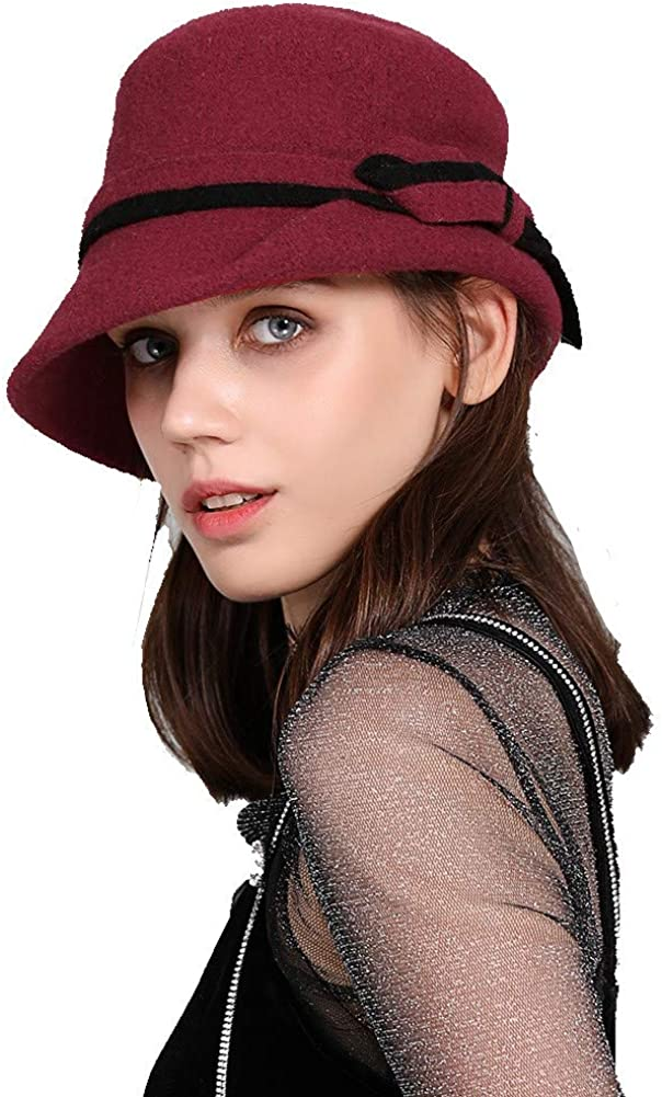 1920s Accessories: Feather Boas, Cigarette Holders, Flasks Womens 1920s Vintage Wool Felt Cloche Bucket Bowler Hat Winter Crushable  AT vintagedancer.com