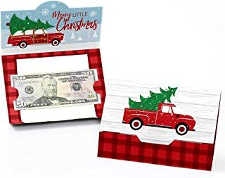 Big Dot of Happiness Merry Little Christmas Tree - Red Truck and Car Christmas Party Money and Gift Card Holders - Set of 8