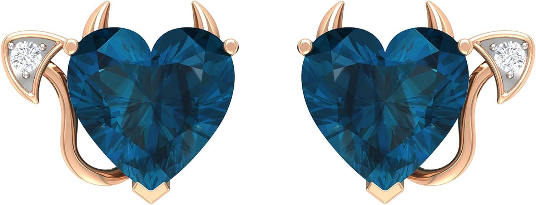 December Birthstone - 4 CT London Blue Topaz Devil Heart Stud Earrings with Diamond (AAA Quality),14K White Gold,London Blue Topaz