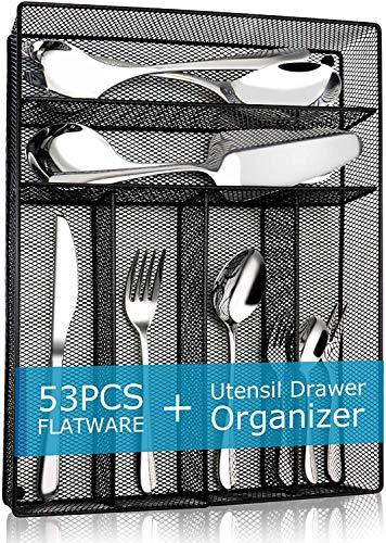Elegant Life Besteckset aus Edelstahl, Tafelbesteck Set, nickelfrei, rostfrei, handpoliert, Mehrzweckgebrauch für Haus, Küche, Restaurant Besteck Sets (53PCS)