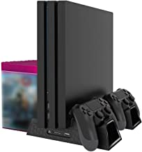 Linkstyle PS4 Vertical Stand with 3 Cooling Fan, Dual Charger Port and Game Storage,Dual Charging Station for PS4 Slim/PRO/Regular Playstation 4 …