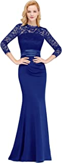 Women's Illusion Long Sleeve Lace Evening Gowns 2019 Mother Dresses