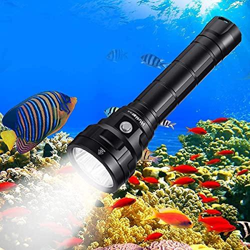 Wurkkos Linterna sumergible de 5000 lúmenes para inmersión, 90 alto CRI linterna impermeable IPX8, 4 x Samsung LH351D LED linterna profesional Diver con batería (2 x 26550) y cargador de baterías USB