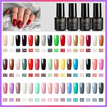 ROSALIND 48pcs Kit de Esmaltes de Uñas Gel UV LED Semipermanente Serie de Nude Color Top Coat Base Coat Manicura y Pedicura: Amazon.es: Belleza