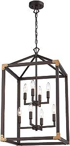 Zeyu 8-Light Farmhouse Foyer Chandelier, Kitchen Lantern Pendant Lights, Oil Rubbed Bronze Finish, 101-8 ORB