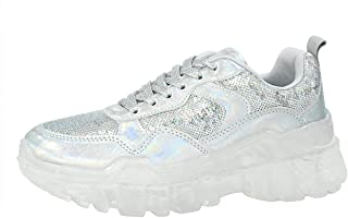 LUCKY-STEP Women Fashion Casual Sneakers See-Through Sole Sequins Lace Up Sports Walking Shoes