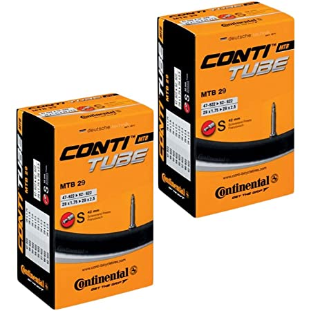 CONTINENTAL Camara MTB 29'' x 1.75-2.50, válvula Presta (Fina), 42 mm (Pack 2 Unidades), Unisex Adulto, Negro, [47-622->62-622]