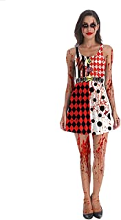 LWWOZL Halloween Costume 3D Printing Horror Bloody Zombie Maid Masquerade Costume Vest Dress (Color : Black+Red+White, Size : S)