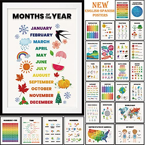 28 pieces English-Spanish Educational Posters for Toddlers for Nursery Classroom Kindergarten Home School Supplies, Preschool poster for wall, Includes: Alphabet charts, Days of the week.