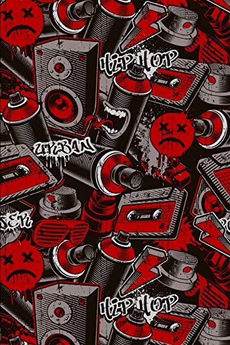 Notizbuch: Graffiti Cover Design / 120 Seiten / Kariert / DIN A5 + (15,24 x 22,86 cm) / Soft Cover / Optimal als Malbuch, Skizzenbuch, Tagebuch, Bullet Journal usw.
