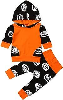 Newborn Baby Boys Hooded Outfits Long Sleeve Pumpkin Striped Cotton Hoodie + Pants Sweatshirt Pullover 2Pcs