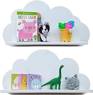 Estantes en la nube disponibles en blanco rosa azul o gris para niños bebés guarderías y dormitorios (2 estantes) esta...
