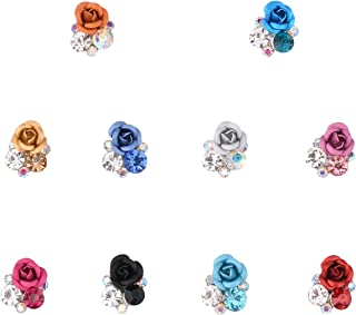 New 10 Colors Flower 3d Nail Art Rhinestones and Charms Rose Design Silver Alloy Nail Decal Jewelry Decoration Supplies Mix 20pcs