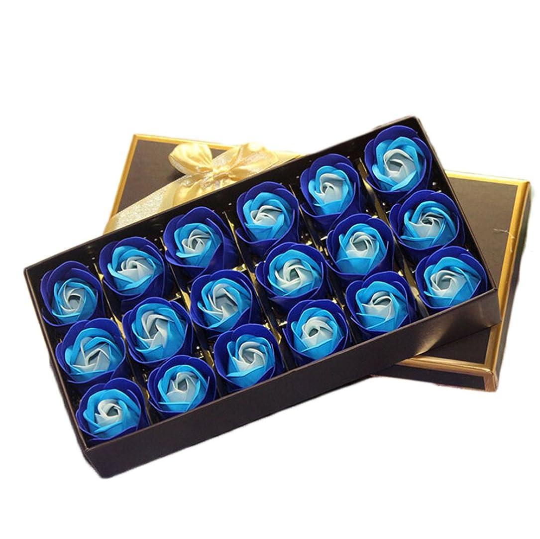 表示暗くする受粉者18個バラ型 フラワーソープ ギフトボックス入り 石鹸 花 バラ セット 手作り 洗う 手 お風呂 香り 贈り物 (青 1)