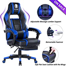KILLABEE High Back PU Leather PC Racing Computer Desk Office Swivel Recliner with Retractable Footrest and Adjustable Lumbar Support, Blue/Black